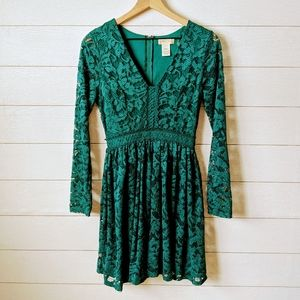Altar'd State Emerald Green Lace Fit & Flare Dress